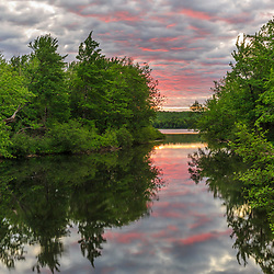Dawn on the West Branch of the Pleasant River near Silver Lake in Piscataquis County, Maine. Near Greenville.
