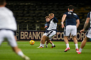06/10/2020: Dundee FC train at Kilmac Stadium after their Betfred Cup match against Forfar Athletic was postponed due to a positive COVID test result for one of the Forfar players: Finlay Robertson challenges for the ball with Max Anderson <br /> <br /> <br />  :©David Young: davidyoungphoto@gmail.com: www.davidyoungphoto.co.uk