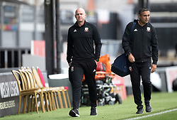 NEWPORT, WALES - Tuesday, October 16, 2018: Wales' manager Rob Page and his assistant Jack Lester arrive ahead of the UEFA Under-21 Championship Italy 2019 Qualifying Group B match between Wales and Switzerland at Rodney Parade. (Pic by Laura Malkin/Propaganda)