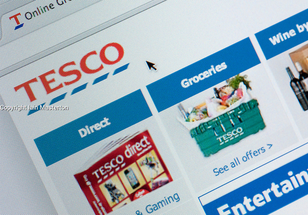 Detail of screen shot from website of Tesco home shopping and delivery service