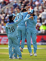 Cricket - 2019 ICC Cricket World Cup - Group Stage: England vs. Sri Lanka<br /> <br /> England's Mark Wood celebrates taking the wicket of Sri Lanka's Isuru Udana caught by Joe Root for 6, at Headingley, Leeds<br /> <br /> COLORSPORT/ASHLEY WESTERN