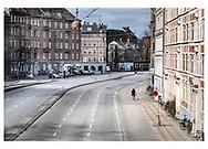 Danmark lukker ned pga af Corona-virus. Åboulevarden i København er normalt en af Danmarks mest trafikerede veje, men ikke fredag d. 20. marts 2020.