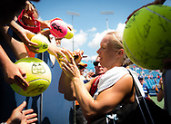 Kiki Bertens of the Netherlands signs autographs after her semi-final at the 2018 Western and Southern Open WTA Premier 5 tennis tournament, Cincinnati, Ohio, USA, on August 18th 2018, Photo Rob Prange / SpainProSportsImages / DPPI / ProSportsImages / DPPI