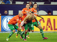 1:2 Jubel v.l. Jozsef Varga, Zoltan Stieber, Torschuetze Nikola Djurdjic , Sercan Sararer (Fuerth)<br /> Fussball Bundesliga, FC Schalke 04 - SpVgg Greuther Fuerth<br /> <br /> Norway only