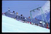 Steve Smithwick in cruise missile, Dangerous Sports Club ski race. St. Moritz. 1984.<br />© Copyright Photograph by Dafydd Jones<br />66 Stockwell Park Rd. London SW9 0DA<br />Tel 0171 733 0108