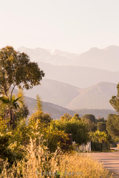 Hills and road on sunny summer day, Route des Vins de Balagne, Corsica. France