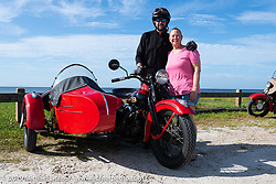 Jon Dobbs and Jaci Pruitt with their 1939 Harley-Davidson EL Knucklehead (with sidecar) along the beach during the Cross Country Chase motorcycle endurance run from Sault Sainte Marie, MI to Key West, FL. (for vintage bikes from 1930-1948). 287 mile ride of Stage-8 from Tallahassee to Lakeland, FL USA. Friday, September 13, 2019. Photography ©2019 Michael Lichter.