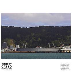 Westpac Stadium seen from Lambton Harbour, Wellington, New Zealand.<br />