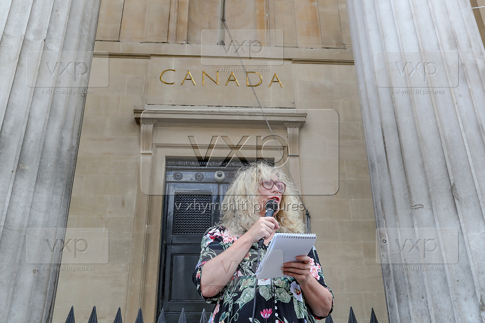 Activists in central London, have blocked the road in front of the Canadian embassy near Trafalgar Square on Friday, June 26, 2020. <br /> Dozens of Canadian and British animal rights activists are protesting against a law brought by the Ontario government known as Bill 156. The law makes it illegal to take photographs of animals in transport to slaughterhouses and give water to animals before their death. (Photo/ Vudi Xhymshiti)