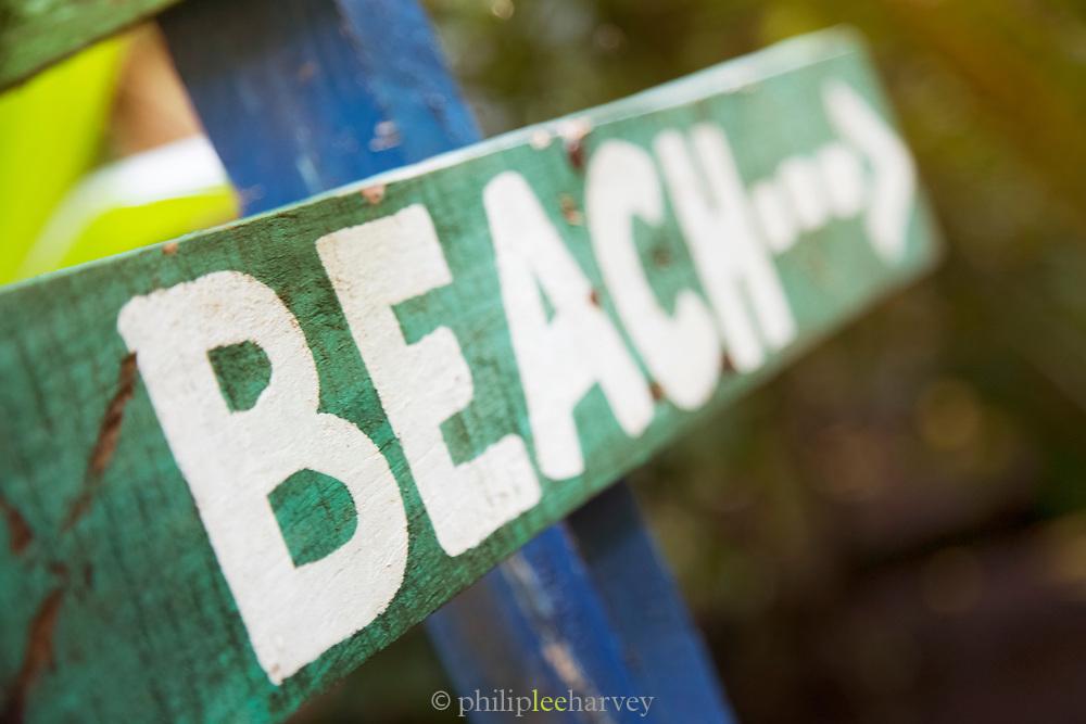 Beach sign, Little Corn Island, Nicaragua.