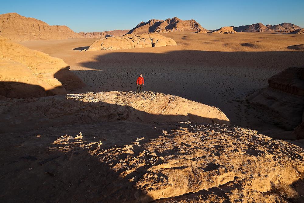 Ethan Welty explores the desert sandstone formations in Wadi Rum, Jordan.