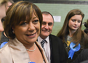 © Licensed to London News Pictures. 01/03/2013. Eastleigh, UK Conservative candidate Maria Hutchins and her husband Stuart arrive at the count. Ballot boxes begin to arrive at the count centre at  Fleming Park Leisure Centre in Eastleigh this evening. The voters of Eastleigh vote to choose a new MP in a by-election prompted by the resignation of former Lib Dem cabinet minister Chris Huhne. Polling will continued 22:00 GMT 28/02/13, with votes counted overnight on Thursday. There are 14 candidates in total on the ballot papers.. Photo credit : Stephen Simpson/LNP