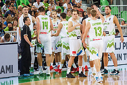 Players of Slovenian national team during qualifying match between Slovenia and Kosovo for European basketball championship 2017,  Arena Stozice, Ljubljana on 31th August, Slovenia. Photo by Grega Valancic / Sportida