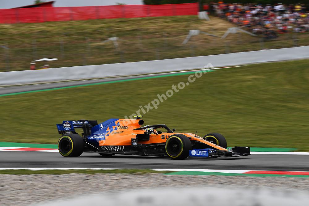 Lando Norris (McLaren-Renault) during practice for the 2019 Spanish Grand Prix at the Circuit de Barcelona-Catalunya. Photo: Grand Prix Photo