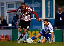 Aidan McGeady of Sunderland takes on Andrew Tutte of Bury - Mandatory by-line: Matt McNulty/JMP - 10/08/2017 - FOOTBALL - Gigg Lane - Bury, England - Bury v Sunderland - Carabao Cup - First Round