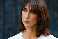 © Licensed to London News Pictures. 24/06/2016. London, UK. SAMANTHA CAMERON listening Prime Minister David Cameron announcing the EU referendum results and that he will step down as Prime Minister by October in Downing Street, London on Friday, 24 June 2016. The UK has voted by a narrow margin to leave the European Union. Photo credit: Tolga Akmen/LNP