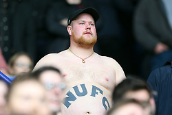 """A Newcastle United fan in the stands during the Premier League match at the King Power Stadium, Leicester. PRESS ASSOCIATION Photo. Picture date: Saturday April 7, 2018. See PA story SOCCER Leicester. Photo credit should read: Steven Paston/PA Wire. RESTRICTIONS: EDITORIAL USE ONLY No use with unauthorised audio, video, data, fixture lists, club/league logos or """"live"""" services. Online in-match use limited to 75 images, no video emulation. No use in betting, games or single club/league/player publications."""