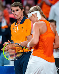 Kiki Bertens and coach Paul Haarhuis in the match against Aljaksandra Sasnovich in the Fed Cup qualifier against Belarus in Sportcampus Zuiderpark, The Hague, Netherlands