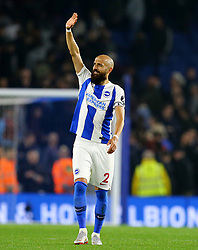 Brighton & Hove Albion's Bruno Saltor waves to the fans after the Premier League match at the AMEX Stadium, Brighton.