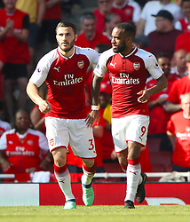 Arsenal's Alexandre Lacazette (right) celebrates scoring his side's second goal of the game with team mate Arsenal's Sead Kolasinac