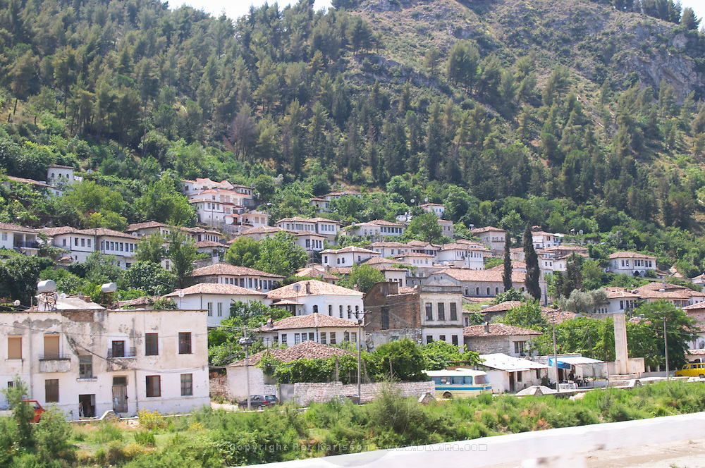 the lower part of the village with modern houses. Berat lower town. Albania, Balkan, Europe.
