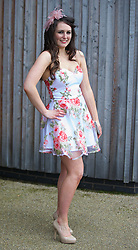 LIVERPOOL, ENGLAND - Friday, April 4, 2014: Stephanie Smith from Ormskirk wearing Rare during Ladies' Day on Day Two of the Aintree Grand National Festival at Aintree Racecourse. (Pic by David Rawcliffe/Propaganda)