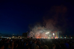 General views of the 2017 Reading Festival at sunset on the last night of the festival. Photo date: Sunday, August 27, 2017. Photo credit should read: Richard Gray/EMPICS Entertainment