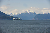 BC Ferries Queen of Oak Bay with Sunshine Coast Mountains behind HorseShoe Bay Vancouver British Columbia Canada