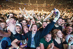 © Licensed to London News Pictures . 09/09/2017. Manchester , UK . Crowd at the front of the stage . We Are Manchester reopening charity concert at the Manchester Arena with performances by Manchester artists including  Noel Gallagher , Courteeners , Blossoms and the poet Tony Walsh . The Arena has been closed since 22nd May 2017 , after Salman Abedi's terrorist attack at an Ariana Grande concert killed 22 and injured 250 . Money raised will go towards the victims of the bombing . Photo credit: Joel Goodman/LNP