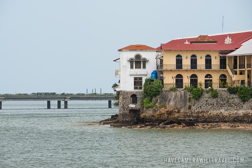 Historic buildings of Casco Viejo on the waterfront of Panama City, Panama, on Panama Bay.