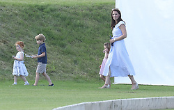 The Duke and Duchess of Cambridge with Princess Charlotte and Prince George at the Mazzarati polo match at Beaufort Polo Club<br /><br />10 June 2018.<br /><br />Please byline: Vantagenews.com<br /><br />UK clients should be aware children's faces may need pixelating.