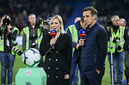 Sky presenters and Gary Neville and Kelly Cates during the Premier League match between Brighton and Hove Albion and West Ham United at the American Express Community Stadium, Brighton and Hove, England on 5 October 2018.