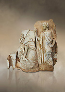Roman Sebasteion relief  sculpture of Apollo and a Muse Aphrodisias Museum, Aphrodisias, Turkey.  Against an art background.<br /> <br /> On the left stood Apollo, one foot raised on a rock, playing his lyre which rests on top of the omphalos (the earth's navel stone, tied down at Delphi(. On the right stands a muse holding one arm of Apollos lyre. .<br /> <br /> If you prefer to buy from our ALAMY STOCK LIBRARY page at https://www.alamy.com/portfolio/paul-williams-funkystock/greco-roman-sculptures.html . Type -    Aphrodisias     - into LOWER SEARCH WITHIN GALLERY box - Refine search by adding a subject, place, background colour, museum etc.<br /> <br /> Visit our ROMAN WORLD PHOTO COLLECTIONS for more photos to download or buy as wall art prints https://funkystock.photoshelter.com/gallery-collection/The-Romans-Art-Artefacts-Antiquities-Historic-Sites-Pictures-Images/C0000r2uLJJo9_s0