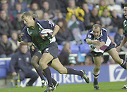 Reading, Berkshire, UK., 26th October 2003, Zurich Premiership Rugby, Madejski Stadium, England, [Mandatory Credit: Peter Spurrier/Intersport Images],<br />  <br /> <br /> 2003_04 Zurich Premiership Rugby - London Irish v Rotherham<br /> London Irish full back, Michael Horak, slips through the Rotherham defence, to add another try to the Exiles win over the Titans.