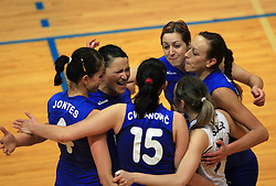 Players of Nova Gorica celebrate at 1st match of finals of 1st DOL women volleyball league between OK Hit Nova Gorica and OK Nova KBM Branik, Maribor played in OS Milojke Strukelj, on April 8, 2009, in Nova Gorica, Slovenia. Nova KBM Branik won 3:1. (Photo by Vid Ponikvar / Sportida)