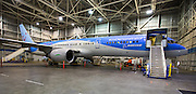 Boeing's 757 ecoDemonstrator sitting in a hanger at Boeing Field. The Boeing ecoDemonstrator Program is focused on accelerating the testing, refinement and completion of new technologies to improve aviation's environmental performance. <br /> <br /> Mike Siegel / The Seattle Times
