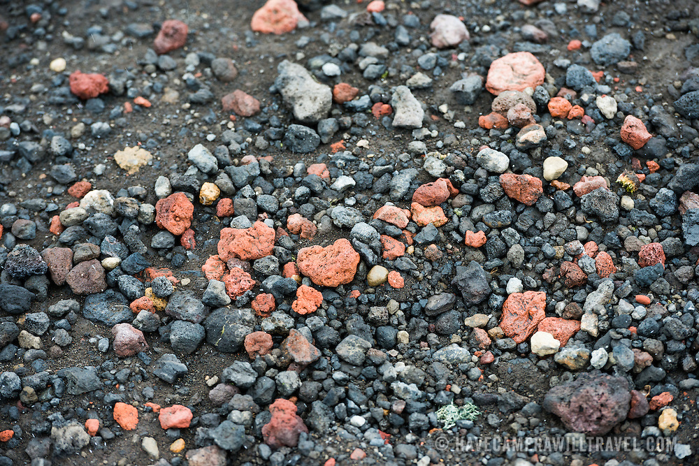 A close-up of the volcanic pebbles and stones on the beach of Whalers Bay on Deception Island. Deception Island, in the South Shetland Islands, is a caldera of a volcano and is comprised of volcanic rock.