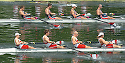 2004 FISA World Cup Regatta Lucerne Switzerland. 18.06.04..Photo Peter Spurrier.USA CAN M4- .USA M4- Bow Jason Read, Daniel Beery, Beau Hoopman and Brian Volpenhein.CAN M4- Bow Cameron Baerg, Thomas Herschmiller, Jake Wetzel and Barney Williams Rowing Course, Lake Rottsee, Lucerne, SWITZERLAND. [Mandatory Credit: Peter Spurrier: Intersport Images]