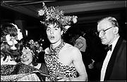 Hugh Grant at the Piers Gaveston Ball. Park Lane Hotel, London. 1983.