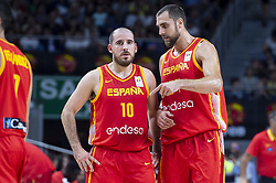 September 17, 2018 - Madrid, Spain - Joaquin Colom and Pablo Aguilar of Spain during the FIBA Basketball World Cup Qualifier match Spain against Latvia at Wizink Center in Madrid, Spain. September 17, 2018. (Credit Image: © Coolmedia/NurPhoto/ZUMA Press)