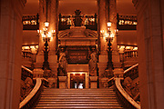 Main staircase inside The Palais Garnier or also called the Opéra Garnier, Paris, France