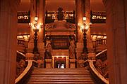 Main staircase inside The Palais Garnier or also called the Opéra Garnier, Paris, France