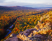 Autumn colors along the Carp River, Porcupine Mountains near Lake Superior, Porcupine Mountains Wilderness State Park, Upper Peninsula of Michigan.