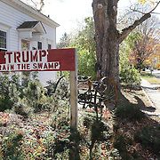 CLINTON, CONNECTICUT- OCTOBER 26:  A Donald Trump supporters sign in the garden of a home in the coastal town of Clinton, Connecticut on October 26, 2016 (Photo by Tim Clayton/Corbis via Getty Images)