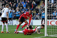 Cardiff city's Fraizer Campbell © celebrates after their 3rd goal, an own goal scored by Fulham's Sascha Riether (on ground). Barclays Premier league, Cardiff city v Fulham at the Cardiff city Stadium in Cardiff , South Wales on Sat 8th March 2014. pic by Andrew Orchard, Andrew Orchard sports photography