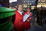 Tour guides Alicemary and Jennifer, outside An Post's letterbox where Michael Collins hid from the English, Molesworth Street, during Walking Tour of Places of No Historical Interest, Festival of Fools, April 1st 2009, marking April Fool's Day, and the 43rd anniversary of the death of Irish author Flann O'Brien