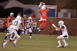 02 September 2017:   Christian Gibbs gets in the air for his 2nd high flying pass reception of the game covered once again by Adam Baker  Isaak Newhouse during the Butler Bulldogs at  Illinois State Redbirds Football game at Hancock Stadium in Normal IL (Photo by Alan Look)