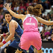 Janel McCarville, (left), Minnesota Lynx, defended by Kayla Pedersen, Connecticut Sun, during the Connecticut Sun Vs Minnesota Lynx, WNBA regular season game at Mohegan Sun Arena, Uncasville, Connecticut, USA. 27th July 2014. Photo Tim Clayton
