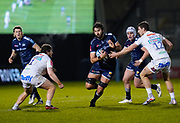 Sale Sharks lock Lood De Jager breaks inside Exeter Chiefs centre Ollie Devoto during a Gallagher Premiership Round 11 Rugby Union match, Friday, Feb 26, 2021, in Eccles, United Kingdom. (Steve Flynn/Image of Sport)