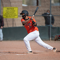 Gallup Bengal Jalen Danetclaw hits the ball in the 4th inning to bring in a run for the Bengals during their varsity baseball game against the Grants Pirates Tuesday afternoon in Gallup.